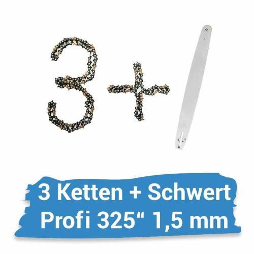 """Schwert 4 Ketten passend für Dolmar PS5000 38 cm 325/"""" 64 TG 1,5 mm Sägekette"""