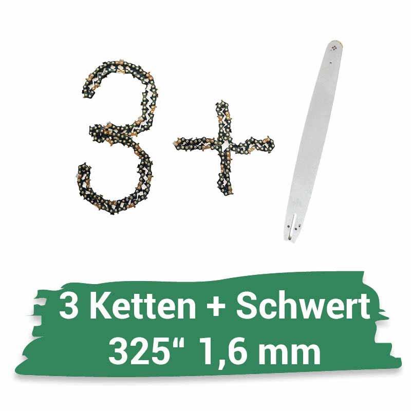 45cm Schwert-Set Drive mit 2 Vollmei/ßelketten .325 72TG 1,5mm passend f/ür Husqvarna 50